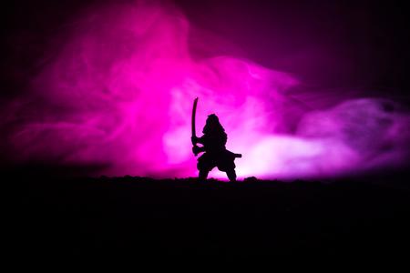 Combattente con una spada silhouette un ninja del cielo. Samurai in cima alla montagna con sfondo nebbioso dai toni scuri. Messa a fuoco selettiva Archivio Fotografico