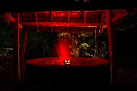 Abandoned well in the forest with Halloween pumpkin at night. Horror concept Stock Photo