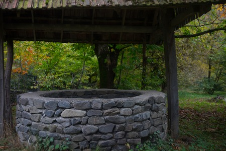 Abandoned well in the forest. Waiting for a terrible girl with a long hair. Halloween concept.
