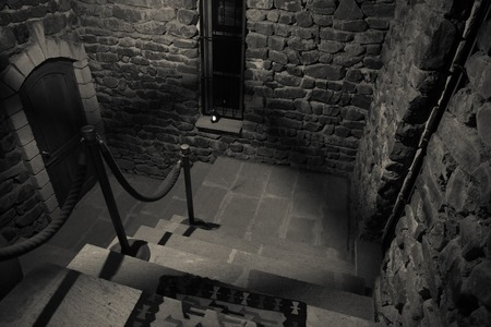 Inside of old creepy abandoned mansion. Staircase and colonnade. Dark castle stairs to the basement. Spooky dungeon stone stairs in old castle. Horror Halloween background