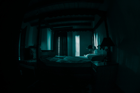 A creepy bedroom scenery, Antique scary bedroom with window . Dark room. Horror concept