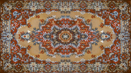 Persian Carpet Texture, abstract ornament. Round mandala pattern, Middle Eastern Traditional Carpet Texture. Stok Fotoğraf