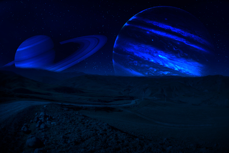 Fantasy surreal concept. Scenic night landscape of country road at night with giant planet at night sky.