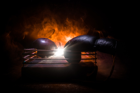 Empty boxing ring with red ropes for match in the stadium arena. Boxing gloves ready to fight. Empty space for text. Foggy background with light. Selective focus Banque d'images - 122548359