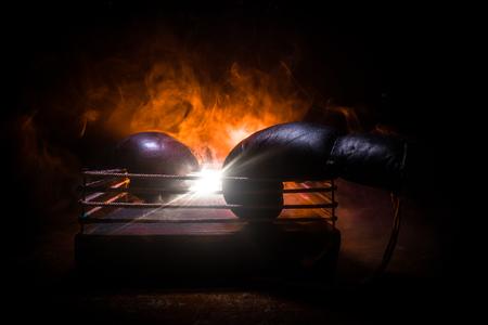 Ring de boxeo vacío con cuerdas rojas para el partido en la arena del estadio. Guantes de boxeo listos para pelear. Espacio vacío para texto. Fondo brumoso con luz. Enfoque selectivo Foto de archivo