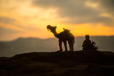 Camel caravan going through the sand dunes in the desert at sunset. Eastern travel concept. Artwork decoration Standard-Bild - 124335237
