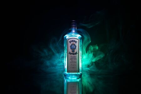 Baku, Azerbaijan - JUNE 16. 2019, Bottle of Bombay Sapphire, a brand of gin distributed by Bacardi. Introduced to the market in 1987 by International Distillers and Vintners. Editorial