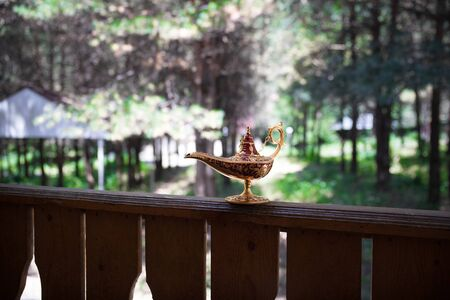 Antique artisanal Aladdin Arabian nights genie style oil lamp at the forest. Lamp of wishes fantasy concept. Selective focus