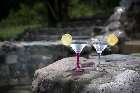 Glasses of martini cocktail at swimming pool with forest trees on background. Selective focus. Season and holidays concept.