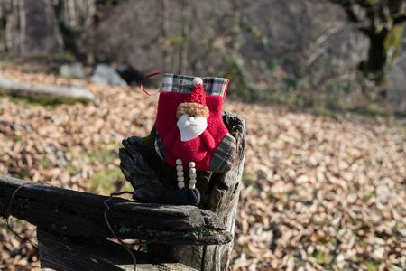Christmas and New Year concept. Holiday santa`s sock at nature during sunlight. Empty space. No snow