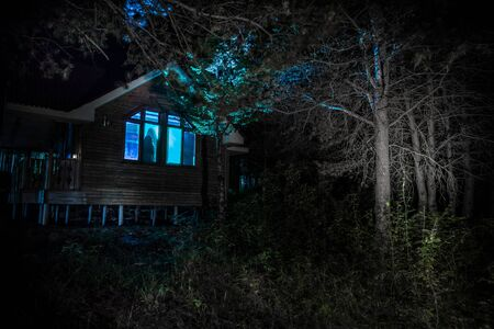 Old house with a Ghost in the forest at night. Horror silhouette at the window. Old building in forest. Surreal lights. Horror Halloween concept 写真素材 - 128832413