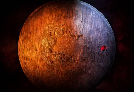 Dark vintage wood texture. Close up view of old grunge dark wooden surface. Selective focus Imagens - 128907511