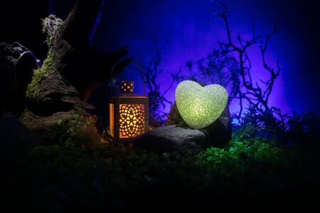 Valentine`s Day love concept. Beautiful artwork decoration with little glowing heart and old vintage lantern at night. Heart in decorated fake forest with stones at night. Empty space selective focus