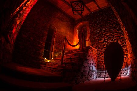 Inside of old creepy abandoned mansion. Silhouette of horror ghost standing on castle stairs to the basement. Spooky dungeon stone stairs in old castle with light. Horror Halloween concept Zdjęcie Seryjne