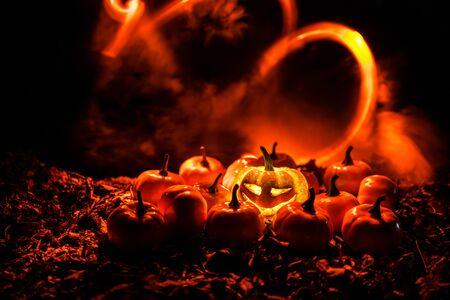 halloween jack-o-lantern on autumn leaves. Scary Halloween Pumpkin looking through the smoke. Glowing, smoking monster pumpkin from depths of hell