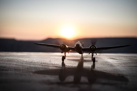 German World war bomber at sunset ready to fly. Creative artwork decoration. Selective focus