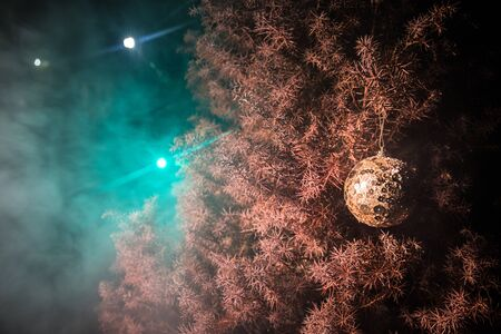 Bauble on tree. Christmas and New Year decoration on the pine tree branch with lights at the background at night outdoors. Concept of winter holidays. Selective focus