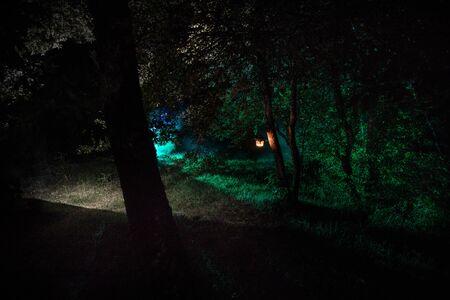 Concetto di orrore di Halloween. Brucia la vecchia lampada a olio nella foresta di notte. Scenario notturno di una scena da incubo. Messa a fuoco selettiva.