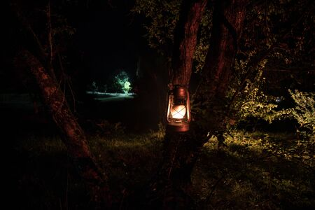 Horror Halloween concept. Burning old oil lamp in forest at night. Night scenery of a nightmare scene. Selective focus. Stock fotó