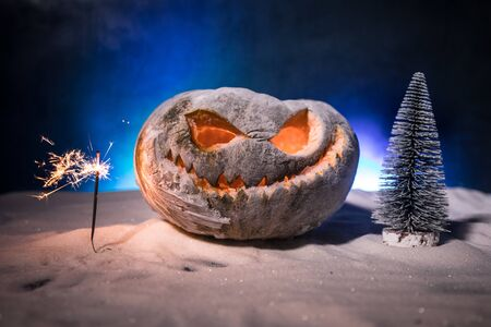 Christmas New Year or Halloween Celebrate Background with Little Christmas Tree and horror pumpkin on snow
