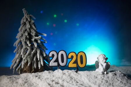 2020 written on the snow. Happy new 2020 year. Empty space for your text. Artwork decoration