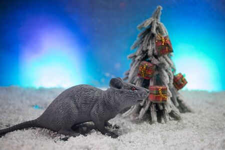 decorative cute brown rat around with a Christmas decor and Santa Claus. The rat is a symbol Of the new year 2020 Banco de Imagens
