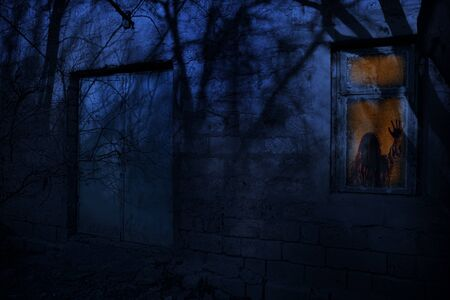 Close up view of spooky building at forest at night with moonlight . Scary abandoned house at night with ghost. Cold autumn night