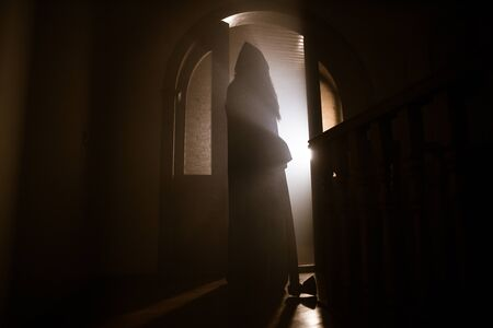 Silhouette of an unknown shadow figure on a door through a closed glass door. Spooky silhouette girl at night with smoke in background Standard-Bild