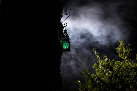 Beautiful colorful illuminated lamp in the garden in misty night. Retro style lantern at night outdoor. Selective focus 写真素材