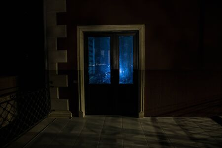 Silhouette of an unknown shadow figure on a door through a closed glass door. The silhouette of a human in front of a window at night. Scary scene halloween concept of blurred silhouette of maniac. Standard-Bild - 143959266