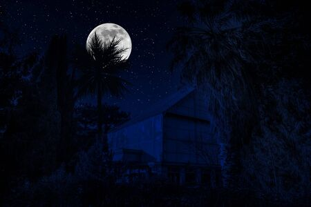 Beautiful landscape of building at forest at night with moon and stars. Scary abandoned house at night with ghost. Cold autumn night
