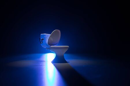 Creative concept. Miniature white toilet bowl on dark foggy background. Selective focus