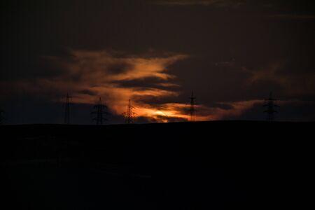 Foggy moonset, full moon, Long shutter shot. dusty