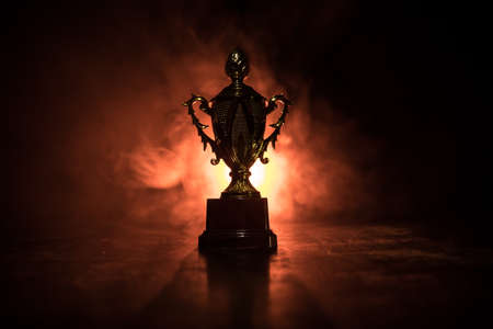 Golden trophy cup on table dark background with copy space. Creative artwork decoration with toned foggy backlight. Selective focus Standard-Bild