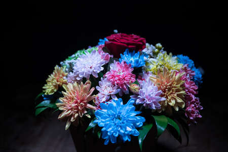 Beautiful and colorful flower bouquet, on dark bakground. Floral bouquet of different flowers. Best for a greeting card. Selective focus Archivio Fotografico - 158165535