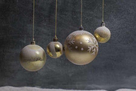 Christmas decoration with burning candles on a dark background. Christmas ornaments over dark golden background with lights. Creative artwork decoration. Archivio Fotografico - 158165545
