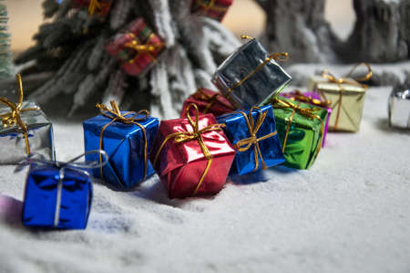 Holiday attributes. Night scene. New Year and Christmas concept. Selective focus