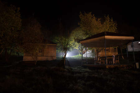 Gazebo with lights / gazebo at night / a gazebo lit up at night or Trees and street lamps on a quiet foggy night. Foggy misty evening lamps in empty road at forest.
