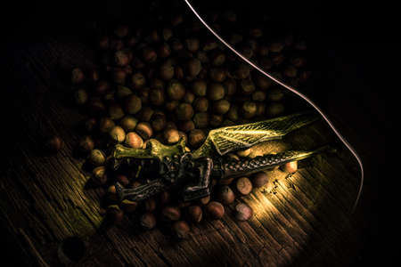 Still life with whole hazelnuts on rustic old wooden table. View from above Creative table decoration. Closeup. Selective focus