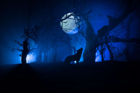 Silhouette of howling wolf against dead forest skyline and full moon. Creative artwork decoration. Selective focus