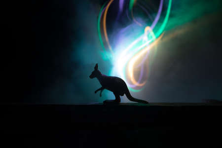 Silhouette of a Kangaroo miniature standing at foggy night. Creative table decoration with colorful backlight with fog. Selective focus Stock Photo