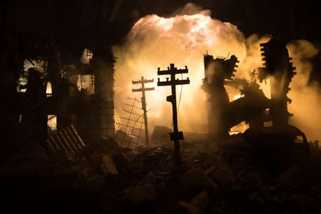 Nuclear war apocalypse concept. Explosion of nuclear bomb in city. City destroyed by atomic war. Creative artwork decoration in dark. Selective focus