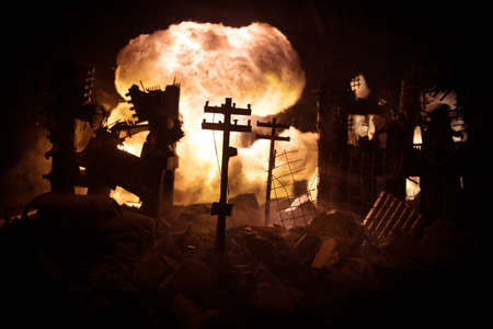 Nuclear war apocalypse concept. Explosion of nuclear bomb in city. City destroyed by atomic war. Creative artwork decoration in dark. Selective focus Banque d'images