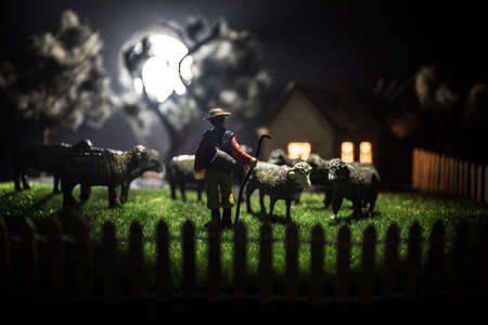 Sheep in the farm. Farm (village) life concept. Decorative toy figures at night. Selective focus