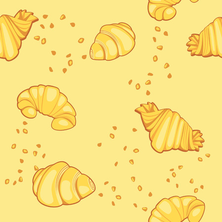 crumb: Pattern with croissants on a yellow background