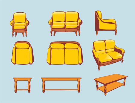 couch: furniture set with chair and table Illustration