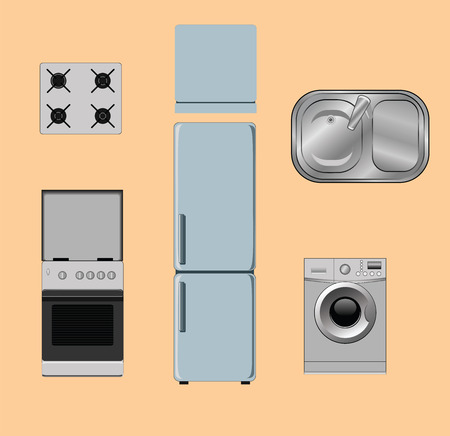 stove top: set of object for the kitchen