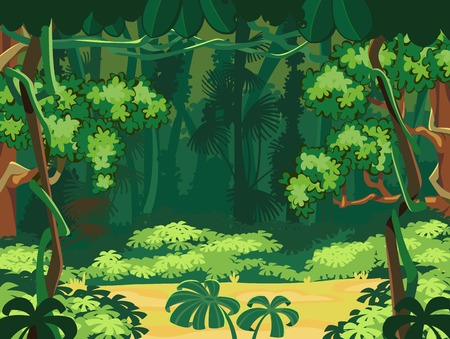 liana: Forest Glade  Beautiful Landscape Background  Illustration