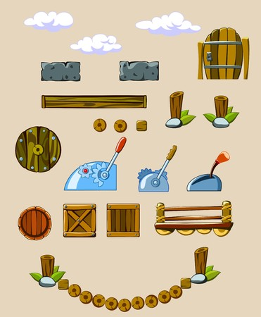 set of objects surrounding Illustration