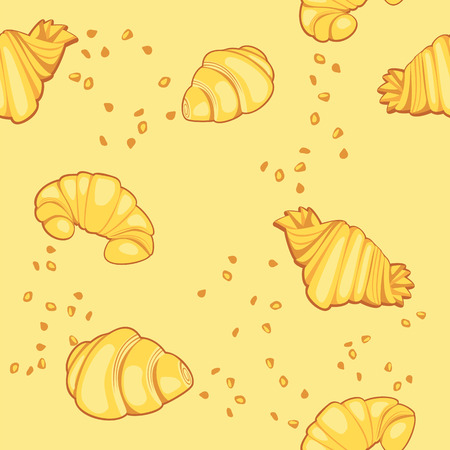ruddy: Pattern with croissants on a yellow background